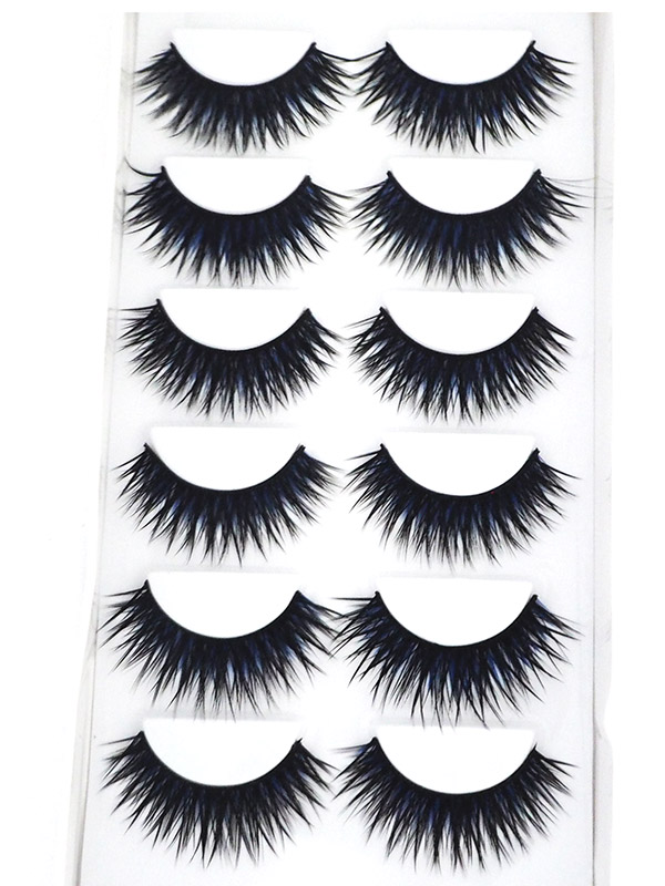 Blue Black Eyelash 6 Pair