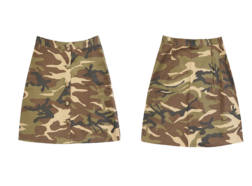 Camouflage Button Up Skirt