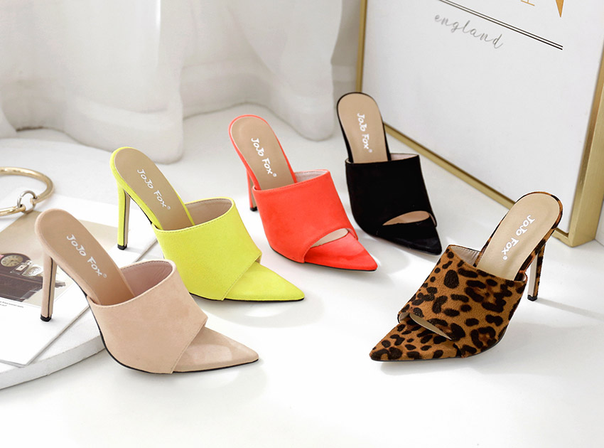 5 Color Sued Peep Toe Mule