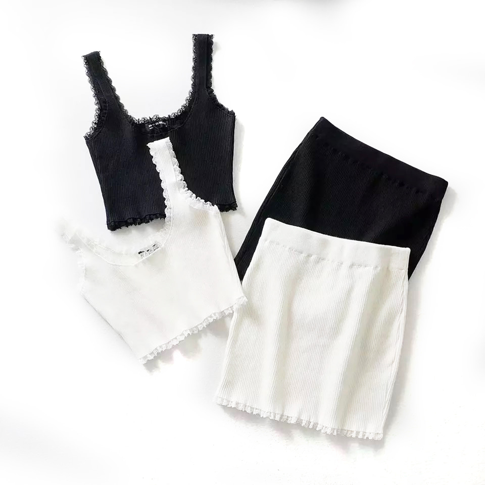 Rib Knit Crop Cami Top & Mini Skirt (당일발송가능)