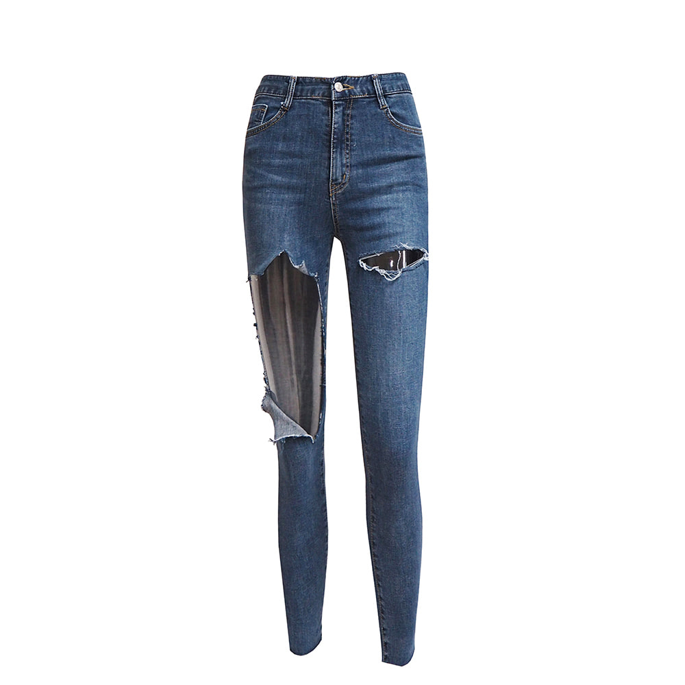 High Waist Cutout Distressed Skinny Jeans