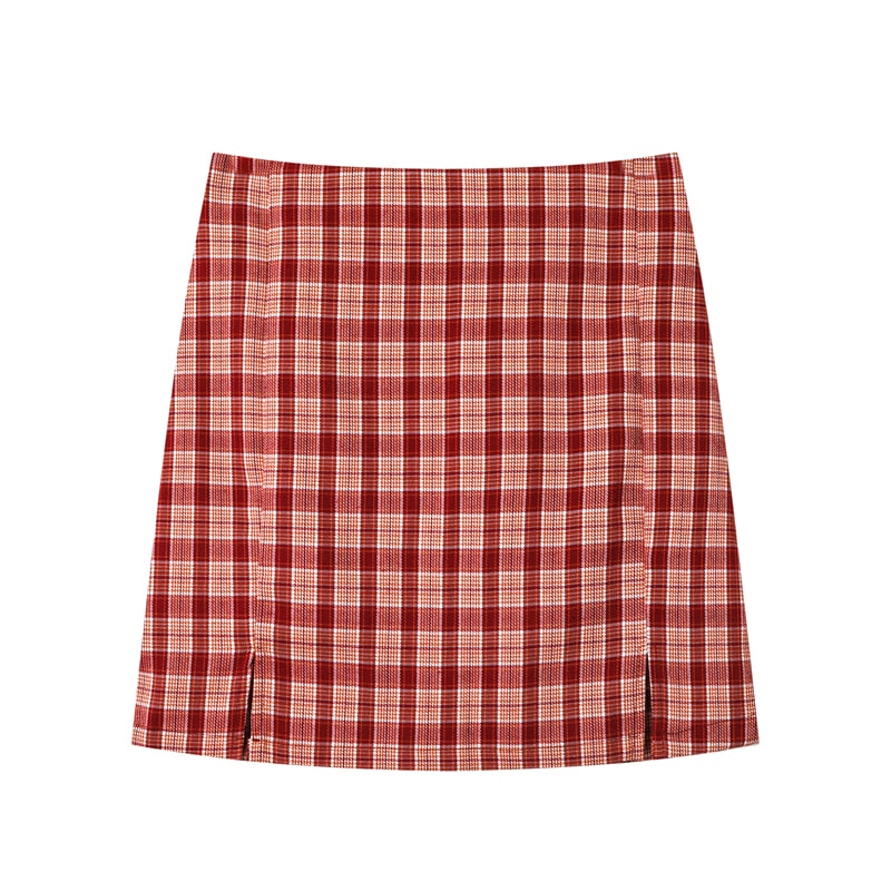 Plaid Check Side Split Mini Skirt