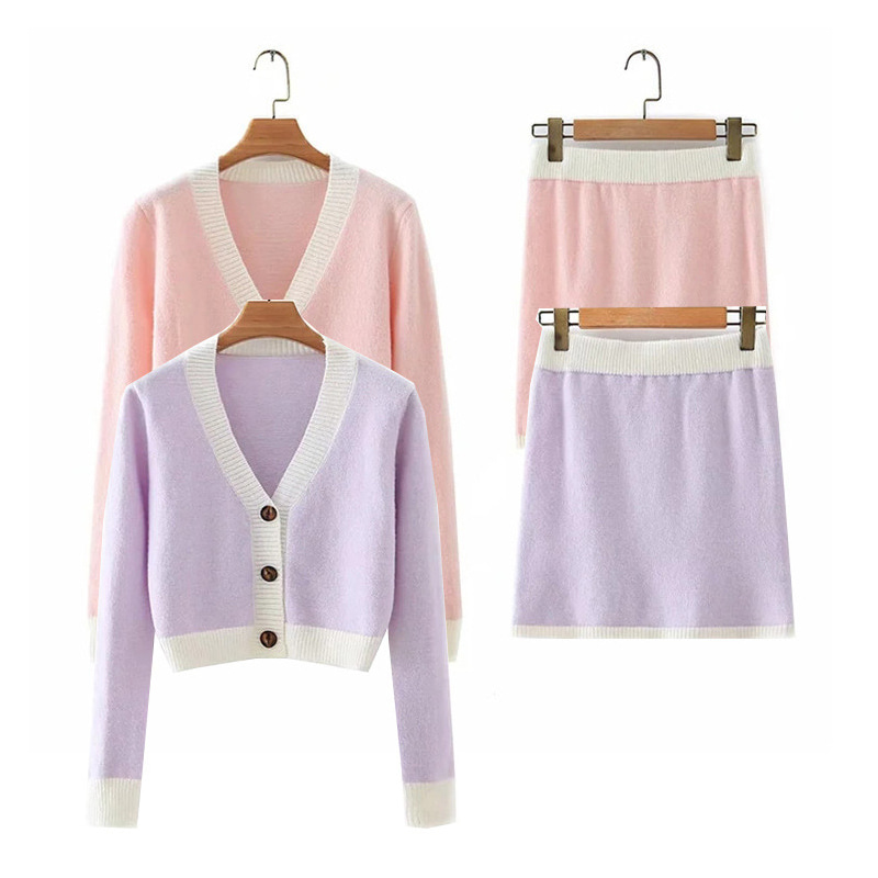 Combination Crop Knit Cardigan & Mini Skirt (Same day shipping available)
