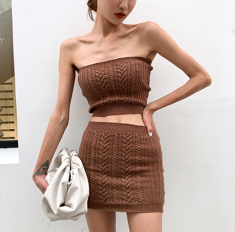 Cable Knit Bandeau Top & Mini Skirt