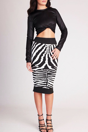 (SALE) Faux Leather Crop top &  Zebra Skirt set