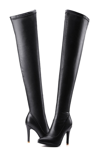 Faux Leather Thigh High Boots (35 38사이즈 당일발송가능)