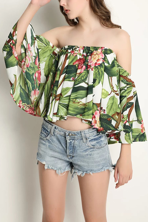 Tropical Off Shoulder Top