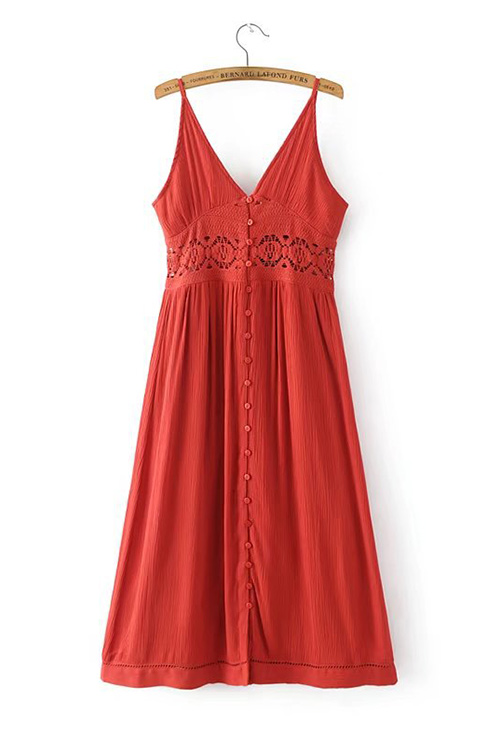 Crochet Trim Slip Dress