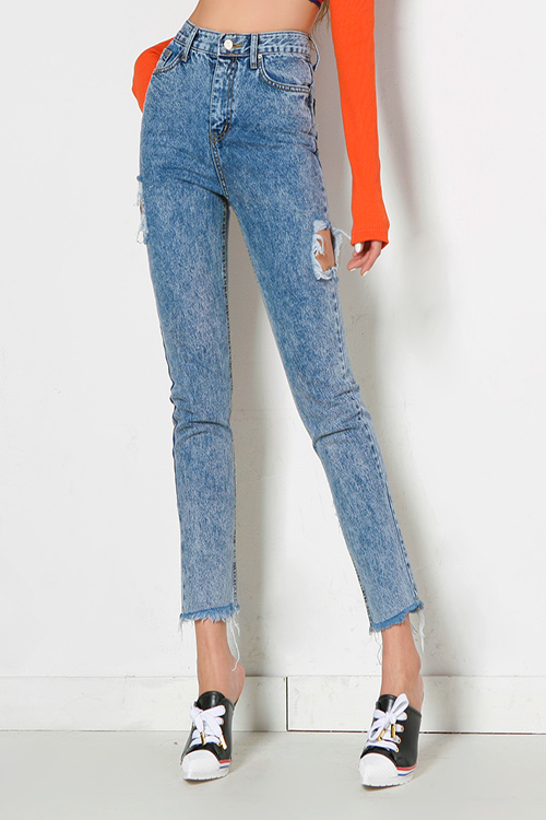 Stone Washed Straight Jeans