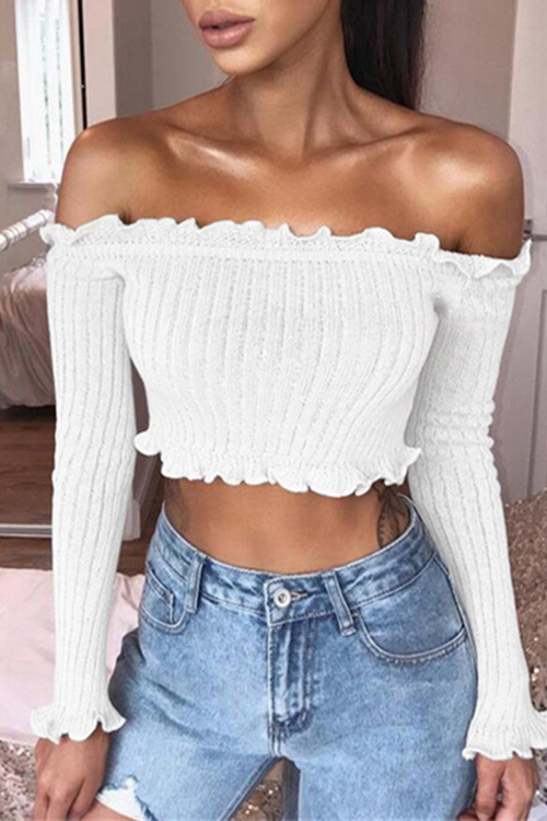 Off Shoulder Rib Knit Crop Tee