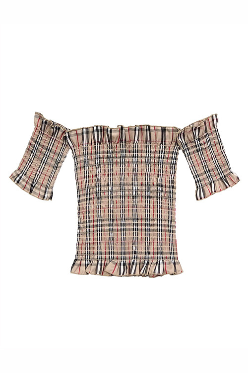 London Check Off Shoulder Top