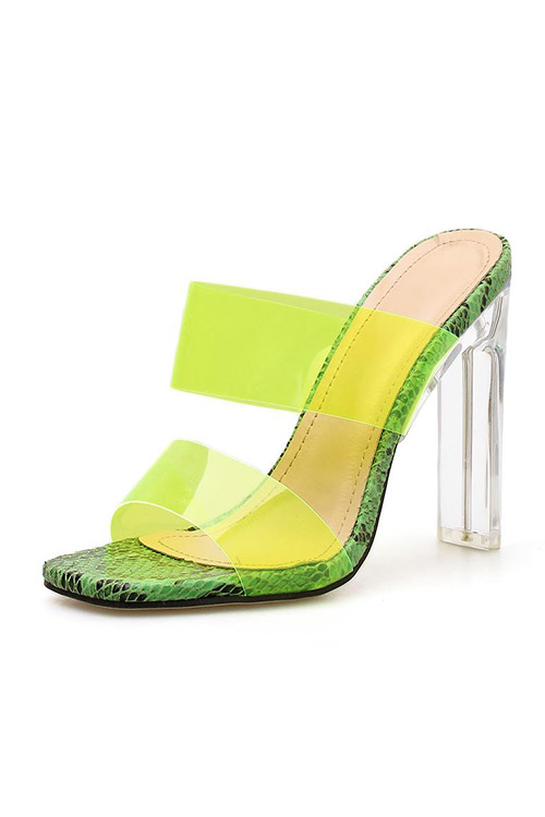 Snake Print Faux Leather Clear Peep Toe Mule