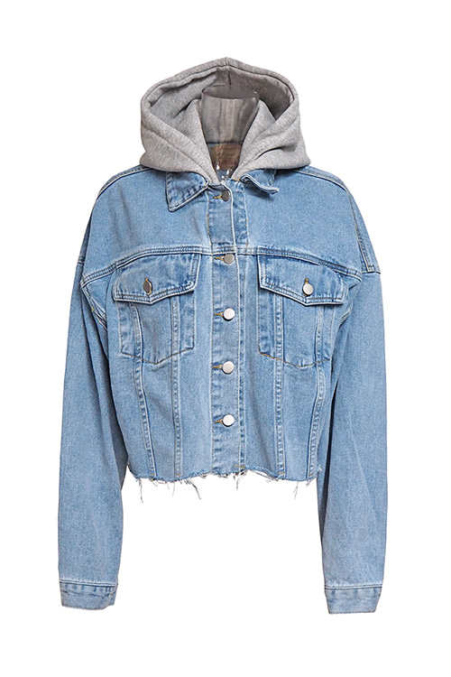 Hooded Crop Denim Jacket
