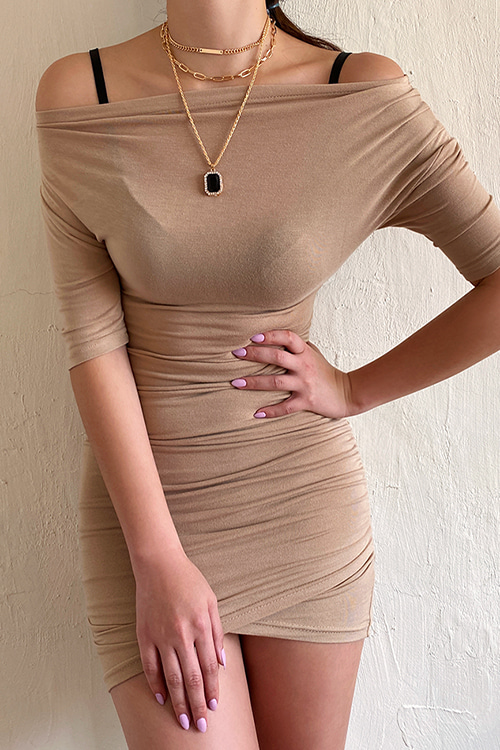 Boat Neck Mini Dress