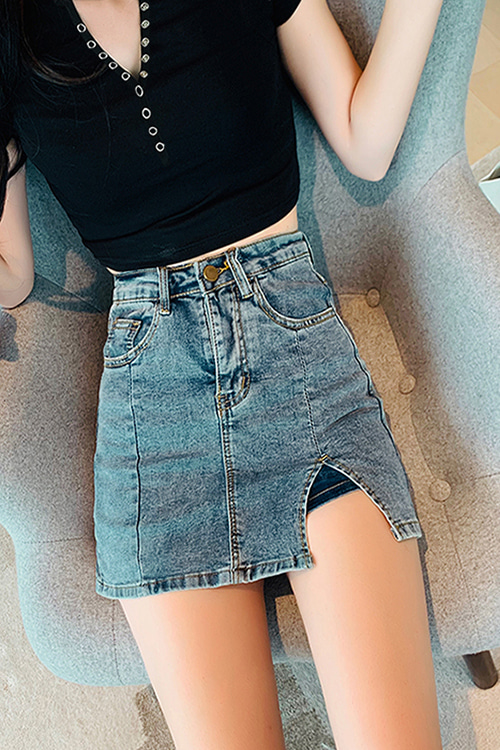 Side Slit Denim Mini Skirt (S/M 당일발송가능)