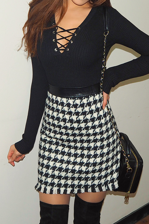 Hound Tooth Check Mink Skirt