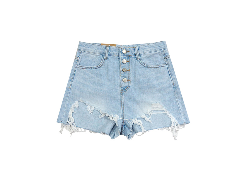 Button Up Damage Denim Shorts (재입고)