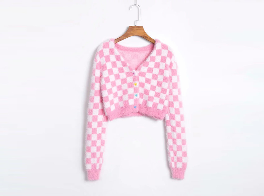 Faux Mohair Check Board Cardigan (당일발송)