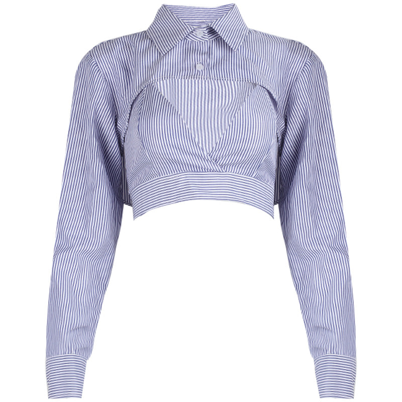 Pin Stripe Halterneck Top & Shirt Bolero Top (Same day shipping available)
