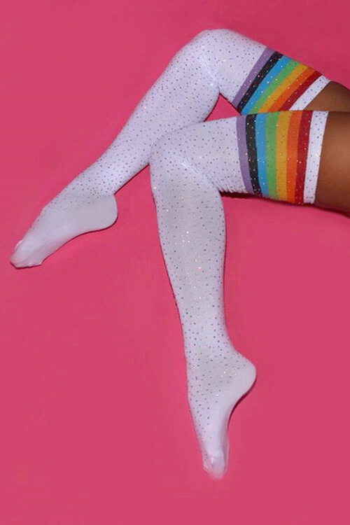 Shiny Rhinestone Over Knee Socks