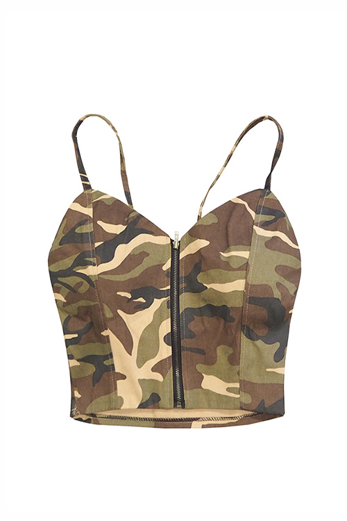 Camouflage Bustier Top