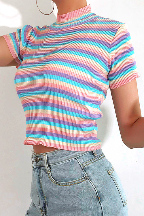 Pastel Shades Stripe Knit Top